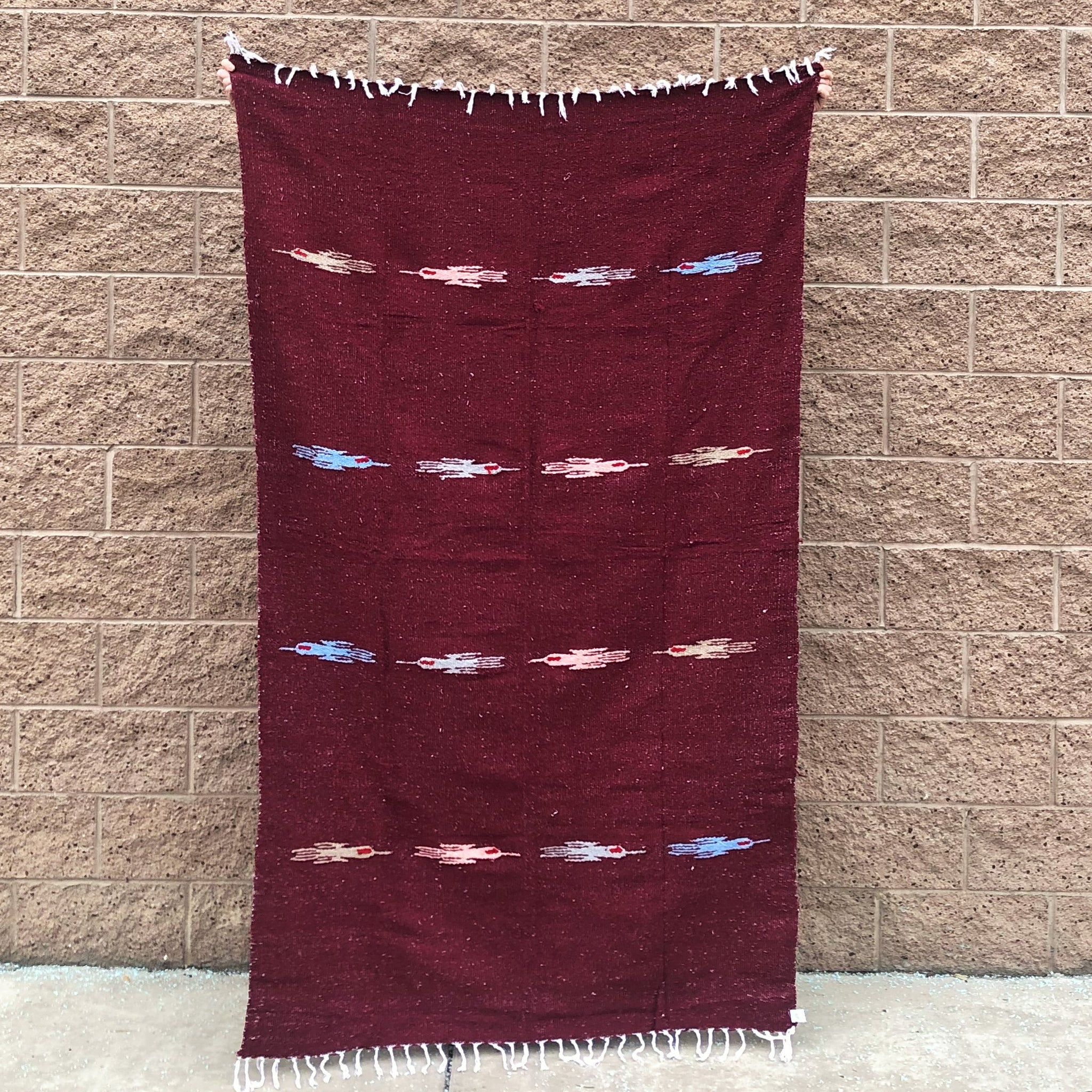 burgundy mexican blanket hand woven cozy blanket
