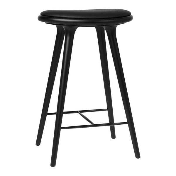 High Stool - Counter Height - Oak - Black Stained / Black Leather - Outlet