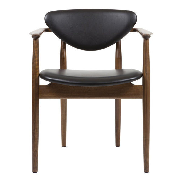 Finn Juhl 109 Chair - Black Leather, Walnut - Showroom