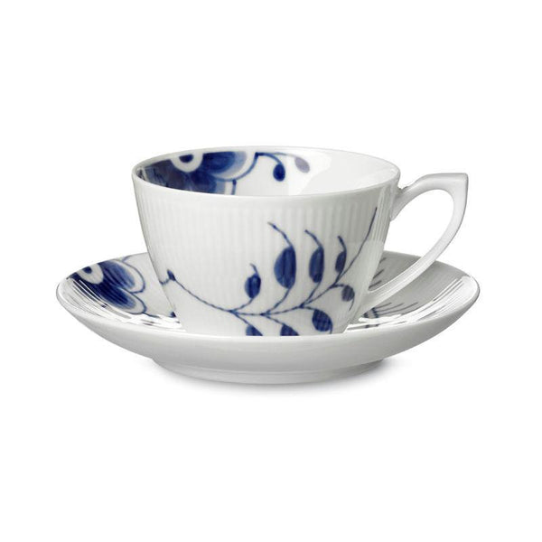 Blue Fluted Mega Tea Cups & Saucers
