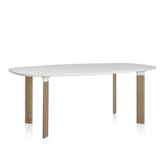 "Analog Table - White Laminate / White Aluminum / Oak Legs / 96.5 x 41.3 x 28.3"" - Outlet"