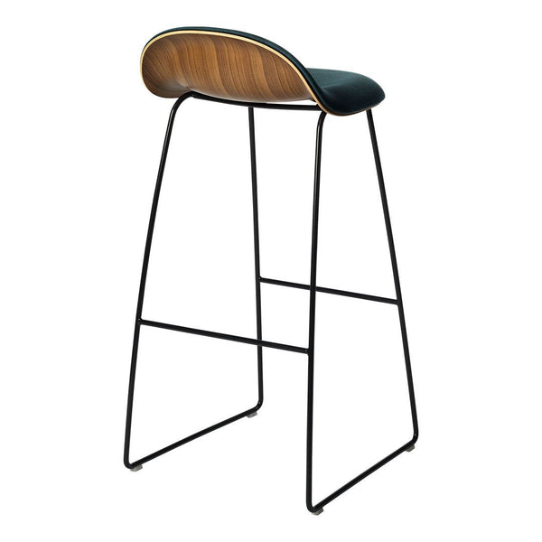 Gubi 3D Bar/Counter Stool - Sledge Base - Wood Veneer, Front Upholstered