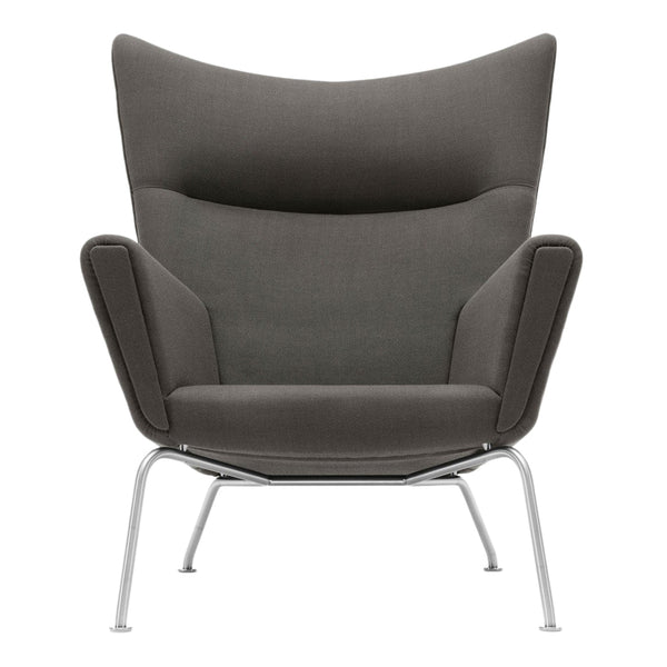 Wegner CH445 Wing Chair - Rime 991 - Stainless Steel Base