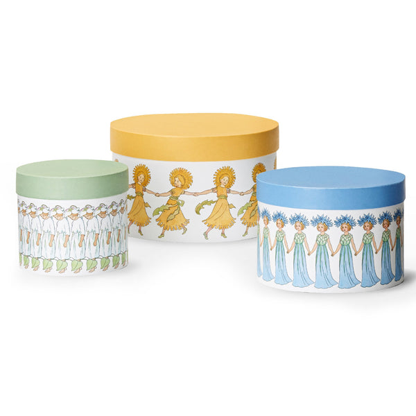 Elsa Beskow Cylinder Boxes – Set of 3 - Flowers - Overstock