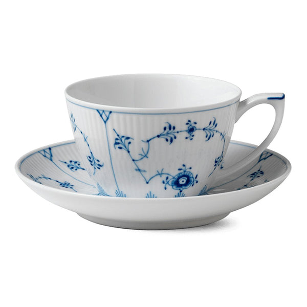Blue Fluted Plain Cups & Saucers