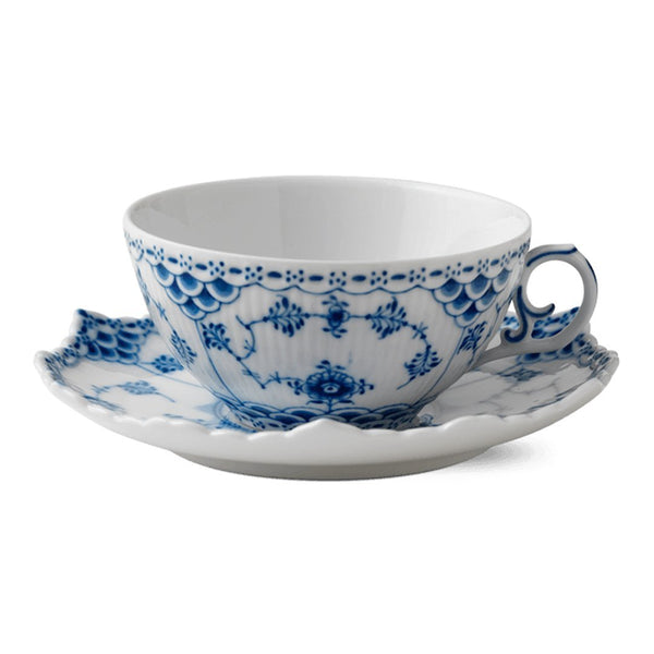 Blue Fluted Full Lace Cups & Saucers