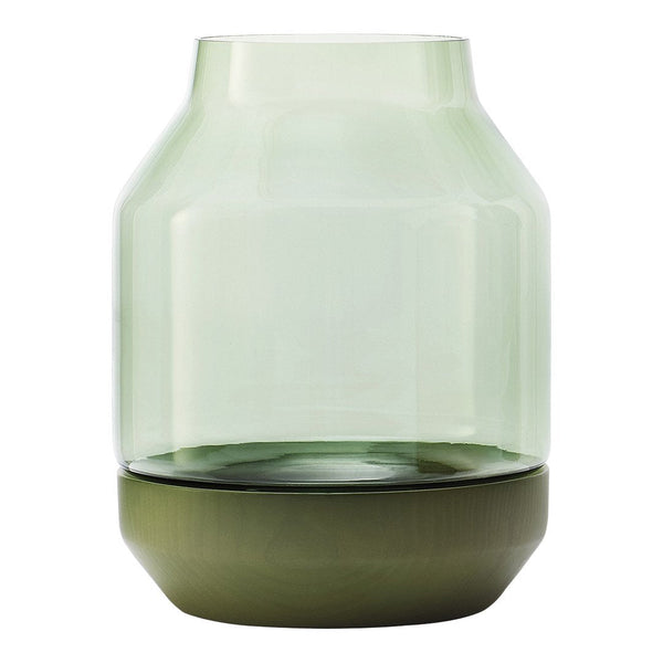 Elevated Vase - Green Glass / Green Ash Wood - Outlet