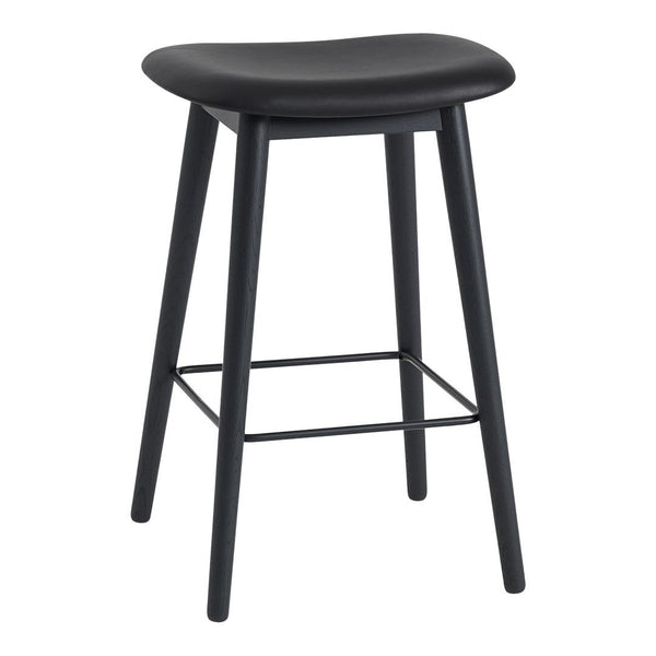 "Fiber Counter Stool (25.6"" H) - Wood Base - Upholstered"