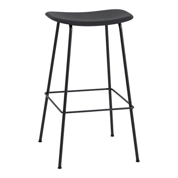 "Fiber Bar Stool (29.5"" H) - Tube Base - Black (RAL 7021) QS - Outlet"