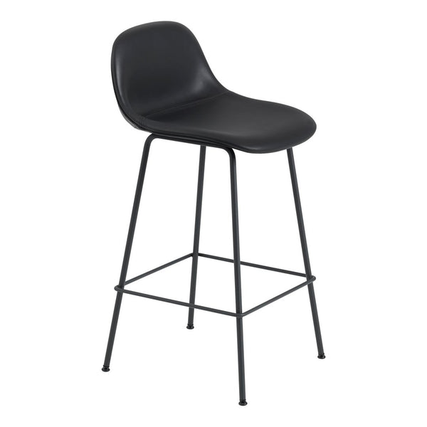 "Fiber Bar Stool w/ Backrest - Tube Base - Upholstered - Counter Height (25.6"" SH)"