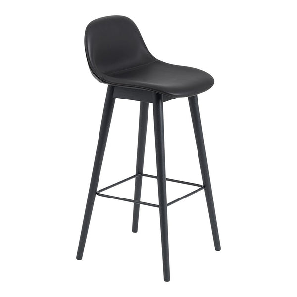 "Fiber Bar Stool (29.5"" SH) w/ Backrest - Wood Base - Upholstered"