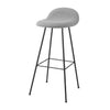 Gubi 3D Barstool - Center Base - Wood Veneer, Front Upholstered