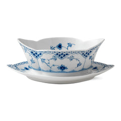 Blue Fluted Half Lace Gravy Boat w/ Stand