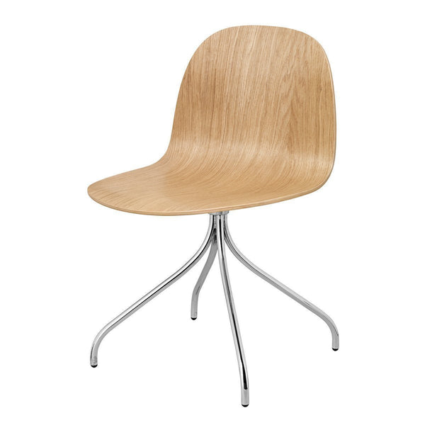 Gubi 2D Dining Chair - Swivel Base - Wood Veneer