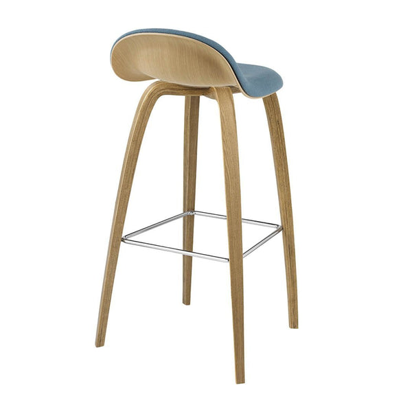 Gubi 3D Barstool - Wood Base - Wood Shell, Front Upholstered