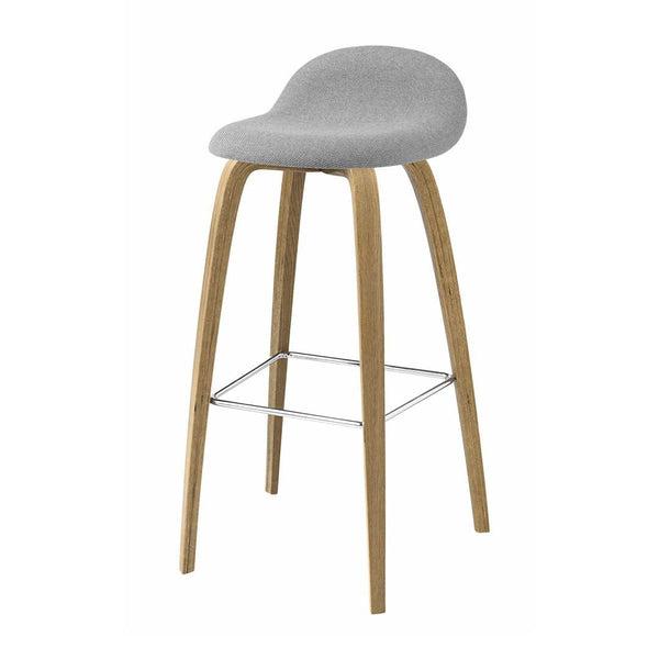 Gubi 3D Counter Stool - Wood Base - HiRek Seat, Front Upholstered