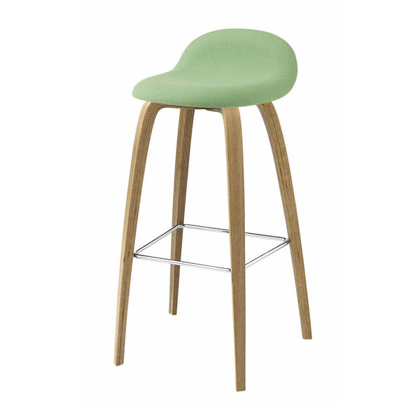 Gubi 3D Bar Stool - Wood Base - Fully Upholstered