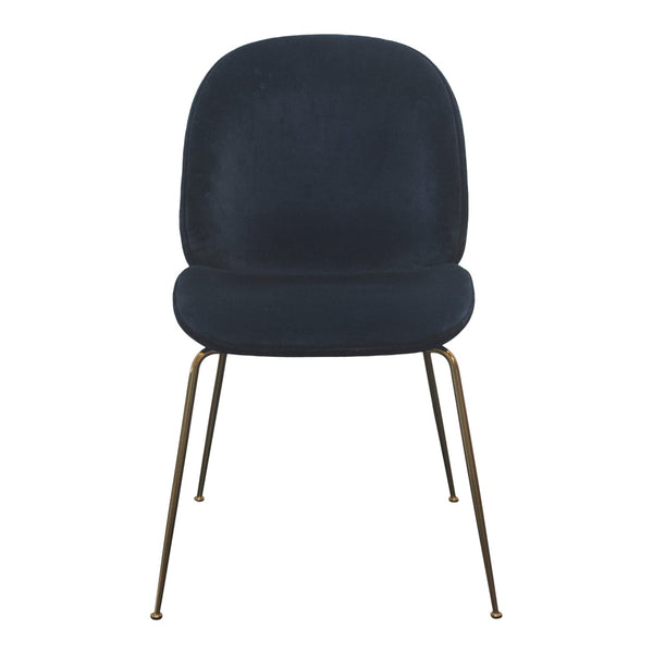 Beetle Dining Chair - Conic Base - Blue Velluto / Brass Legs - Outlet