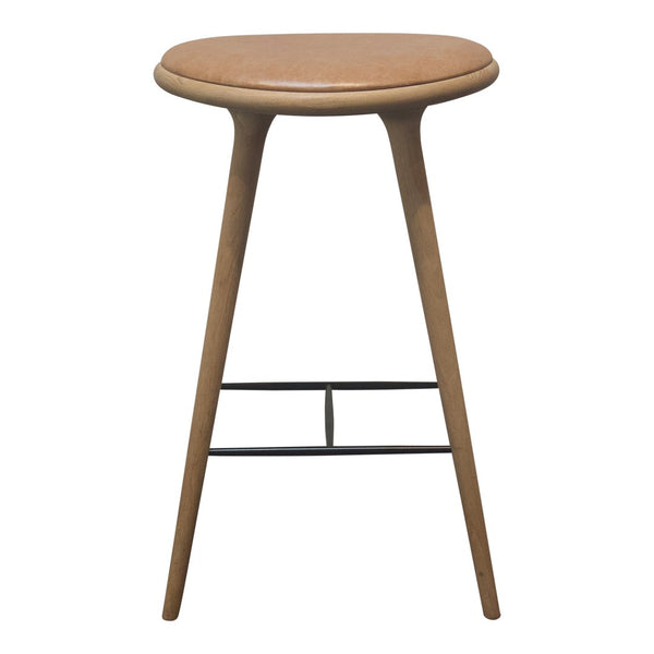 Mater High Stool - Bar Height, Oak, Natural Leather - Outlet