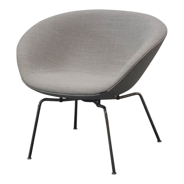 Pot Chair - Light Grey Fabric, Chrome Base - Outlet