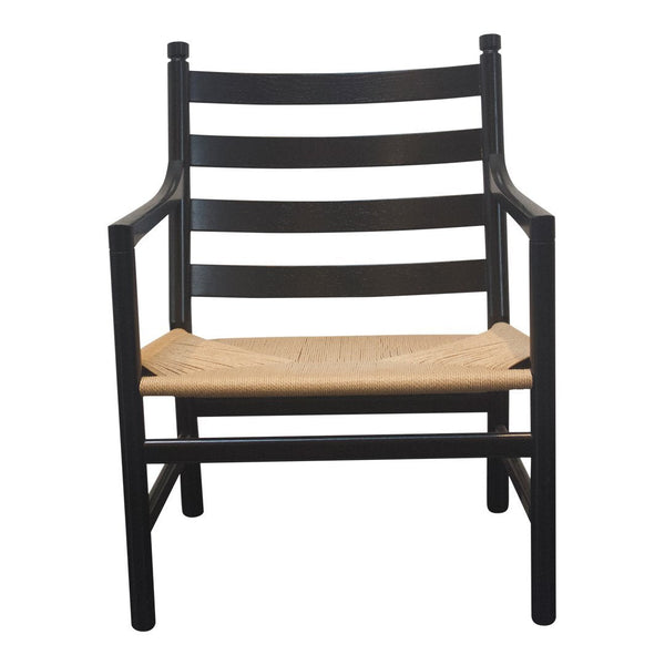 Ch44 Ladderback Chair - Black, Natural Cane Seat - Outlet