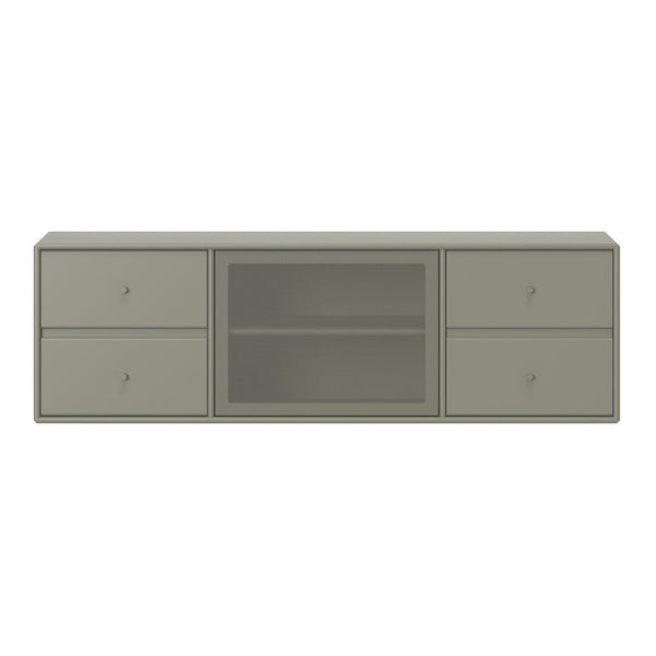 SJ12 Classic TV Module - 1 Perforated Door, 4 Lacquered Drawers