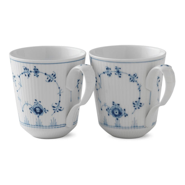 Blue Fluted Plain Mugs - Set of 2