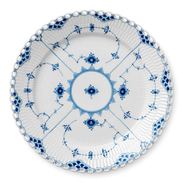 Blue Fluted Full Lace Plates