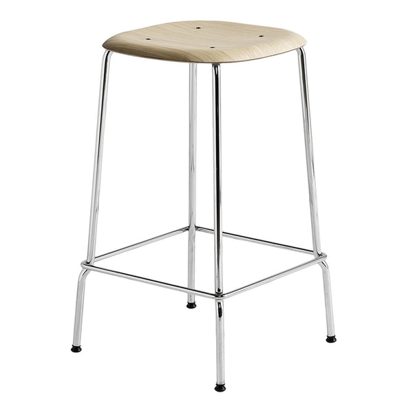Soft Edge 30 Counter Stool - Oak Clear Lacquer / Chromed Legs - Outlet