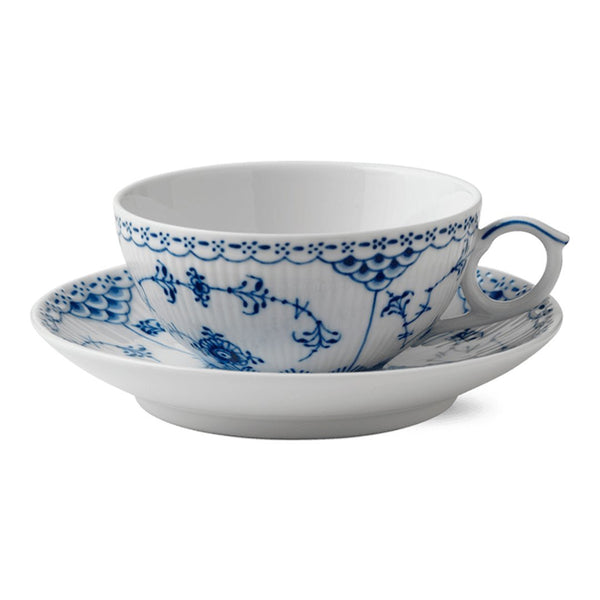 Blue Fluted Half Lace Cup & Saucer