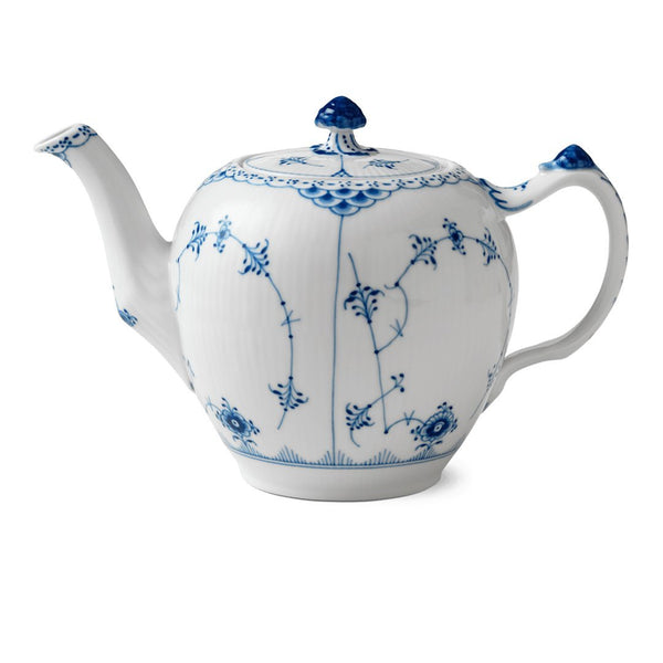 Blue Fluted Half Lace Teapot