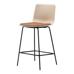 Pato Veneer Barstool - 4 Legs, Seat Upholstered - Bar Height