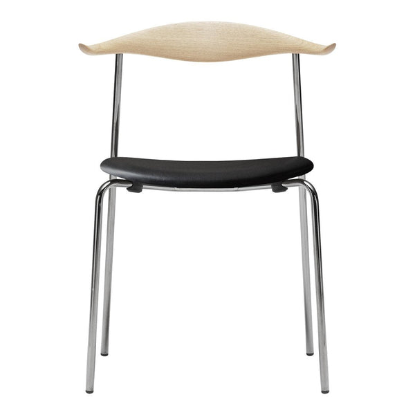 Wegner CH88P Chair - Upholstered Seat - Stainless Steel Frame - Wood Backrest