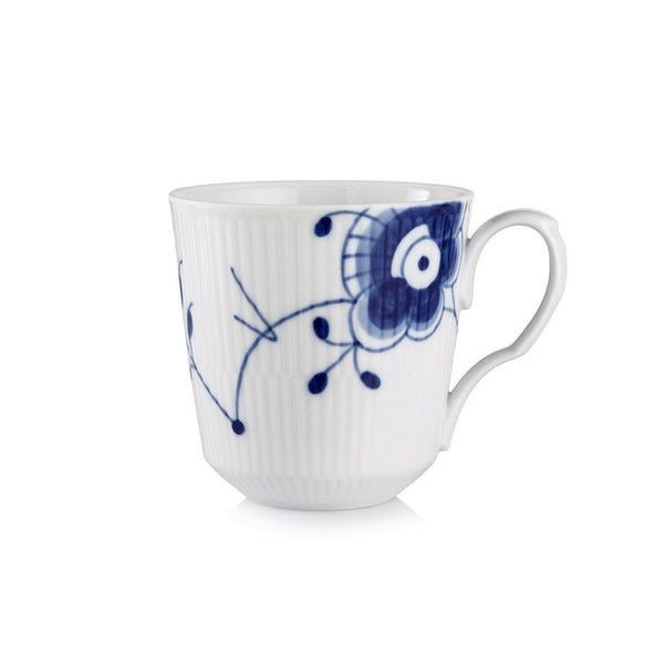 Blue Fluted Mega Latte Mug With Handle