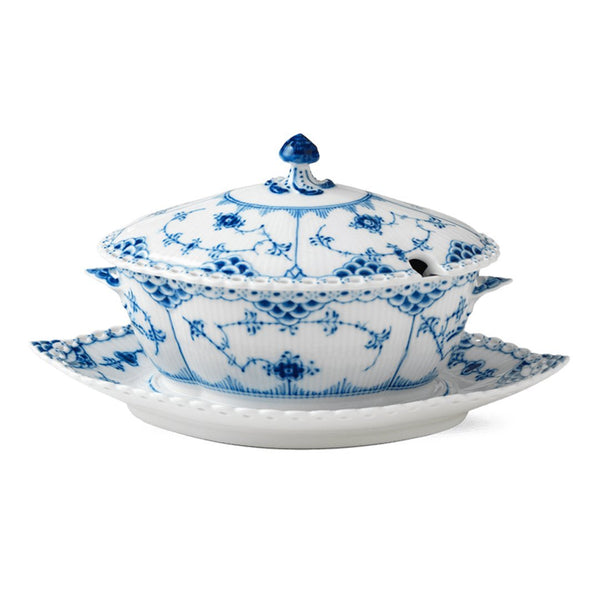 Blue Fluted Full Lace Gravy Boat w/ Stand