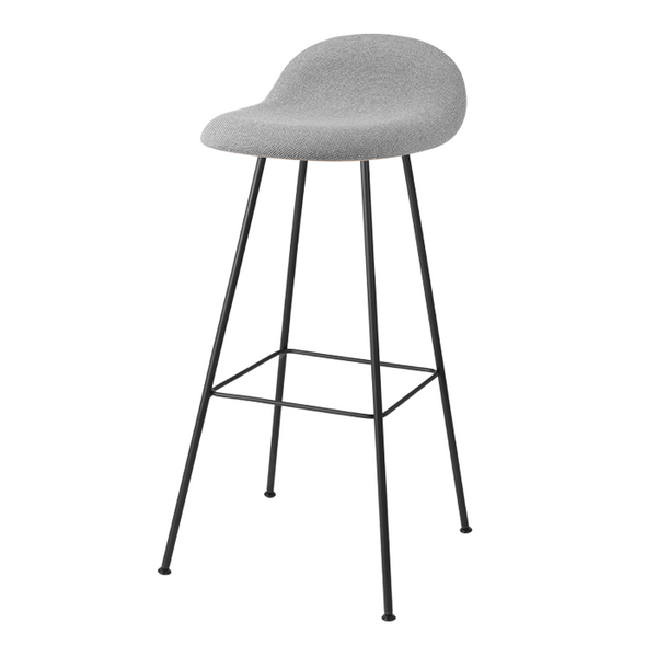 Gubi 3D Barstool - Center Base - HiRek Seat, Front Upholstered
