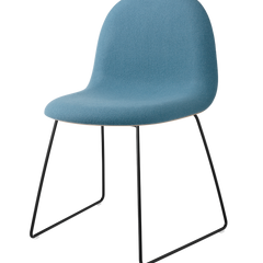 Gubi 3D Dining Chair - Sledge Base - Wood Veneer, Front Upholstered