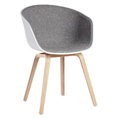 About A Chair: AAC22 - Front Upholstered - Remix 123 / White Shell / Oak Mat Lacquered Base - Outlet - LA Showroom Pickup Only