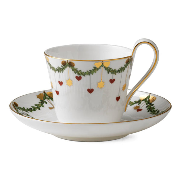 Star Fluted Christmas Cups & Saucers