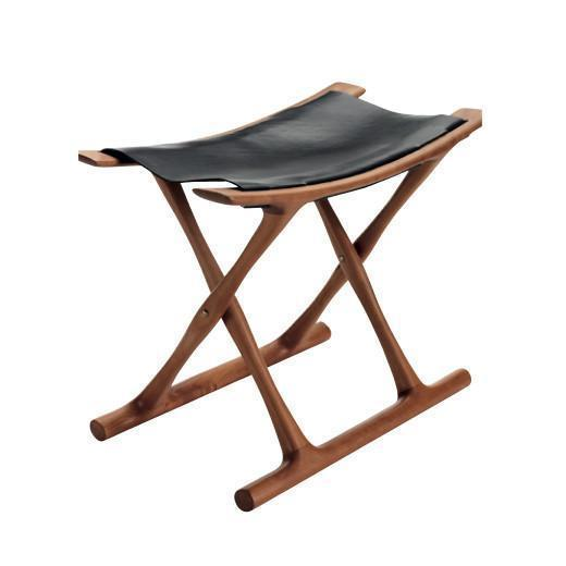 Wanscher Egyptian Chair - Black Saddle Leather / Walnut Frame - Outlet