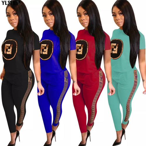 27142090727 Plus Size 2 Two Pieces Sets Casual Vogue Sequined Sweatshirts Jogger Pants  Suits Women Clothing Outfits