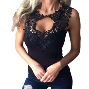 df1b0e067 Summer S-3XL Women Sexy Sleeveless T-Shirts Lace Crochet Hollow Out Fitness Tees  Tops Casual Vest Shirts Plus Size (2 COLORS)