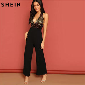 aa82c323f22f SHEIN Halter Neck Sequin Bodice Plunging Jumpsuit Deep V Sexy Backless Plain  Sleeveless Women Summer Maxi Skinny Jumpsuit