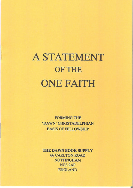 A Statement of the One Faith