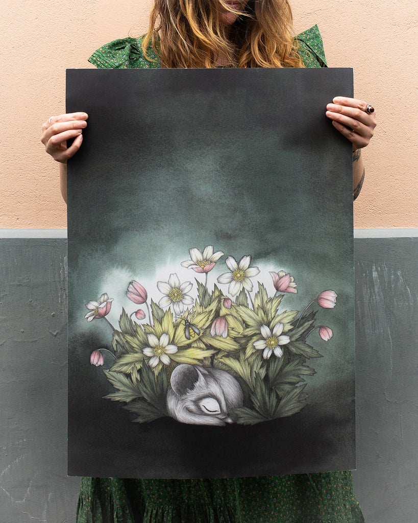 Sleepy Anemones Large Art Print Kajsa Wallin