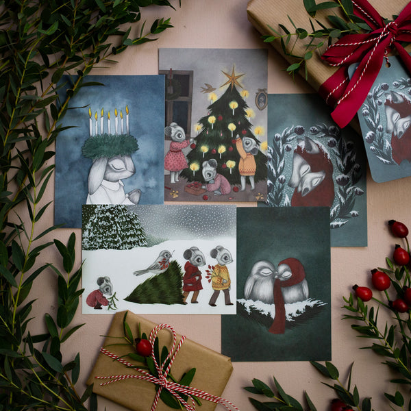 SNOWY CHRISTMAS, A6 set of 5 cards