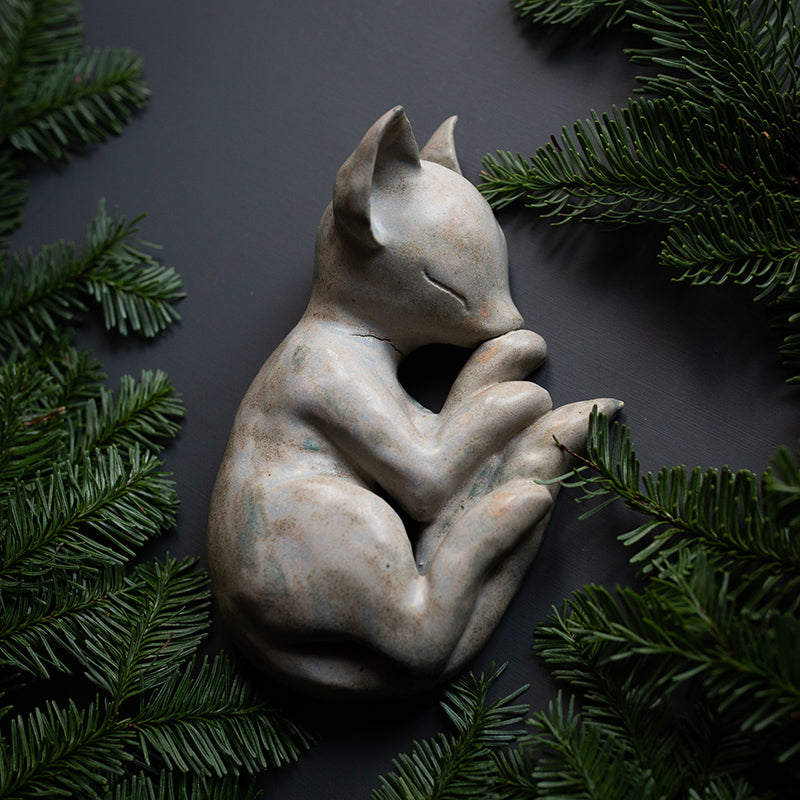 SLEEPY CAT, stoneware sculpture