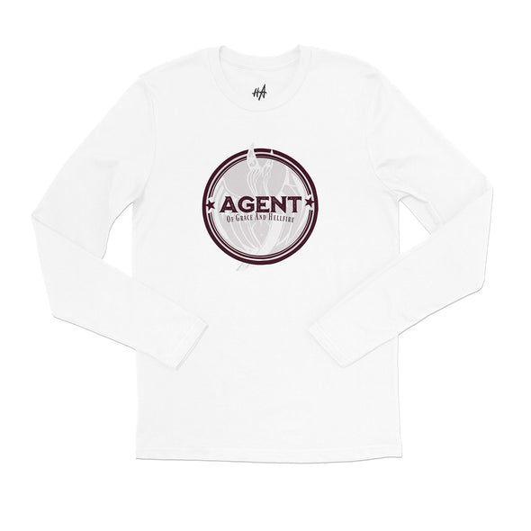 Agent Long Sleeve Tee in White by Harper Ashton Designs - Sassy Unisex Graphic Long Sleeve T-Shirt