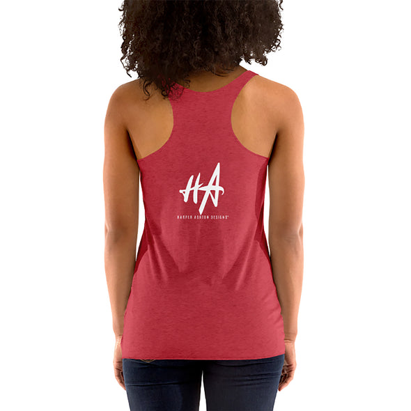 Back of Agent Womens Racerback Tank in Vintage Red by Harper Ashton Designs