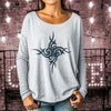Boho Flowy Long Sleeve Tee with Tight Ribbed Sleeves